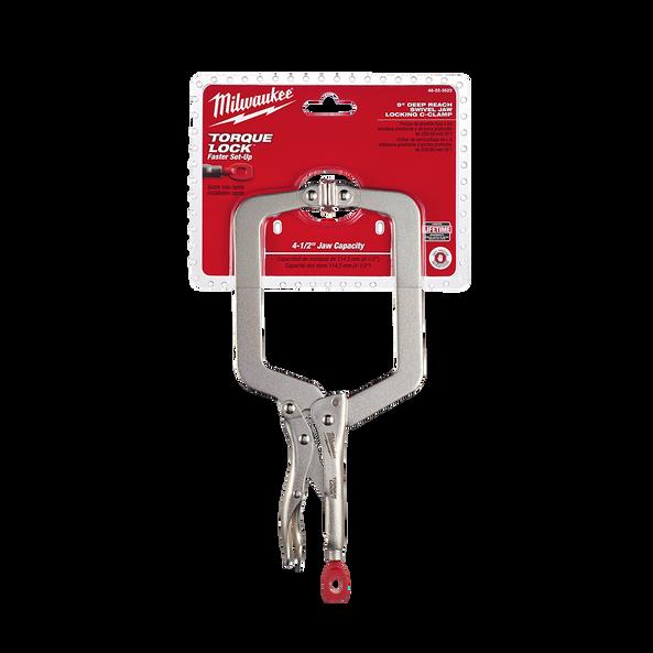 "228mm (9"") Torque Lock™ Deep Reach C-Clamp Locking Pliers Swivel Jaw"