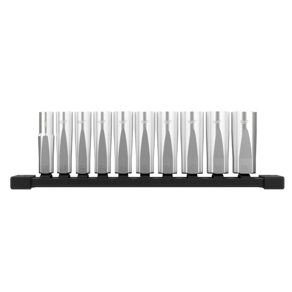 "3/8"" Drive, 10 piece Deep Metric Socket Set with Storage Rail, , hi-res"