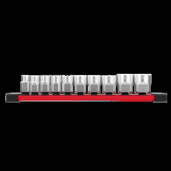 "3/8"" Drive, 10 piece Standard SAE Socket Set with Storage Rail, , hi-res"